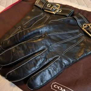 NWT Coach Women's Black Leather Cashmere Gloves